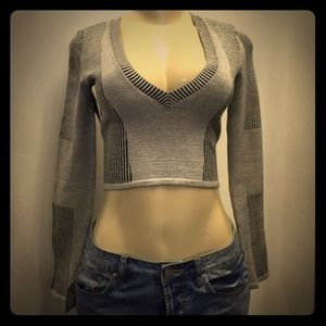 New Gray NASTY GAL Bodycon Sweater Crop Top XS S